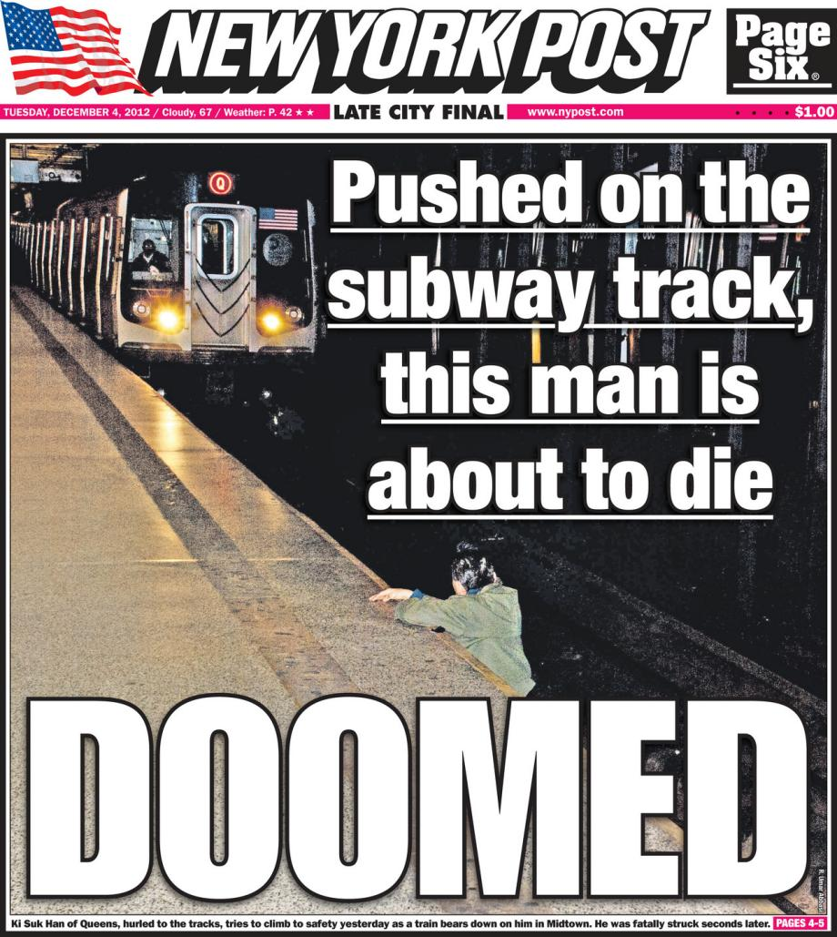Controversial New York Post front page with subway-death photo