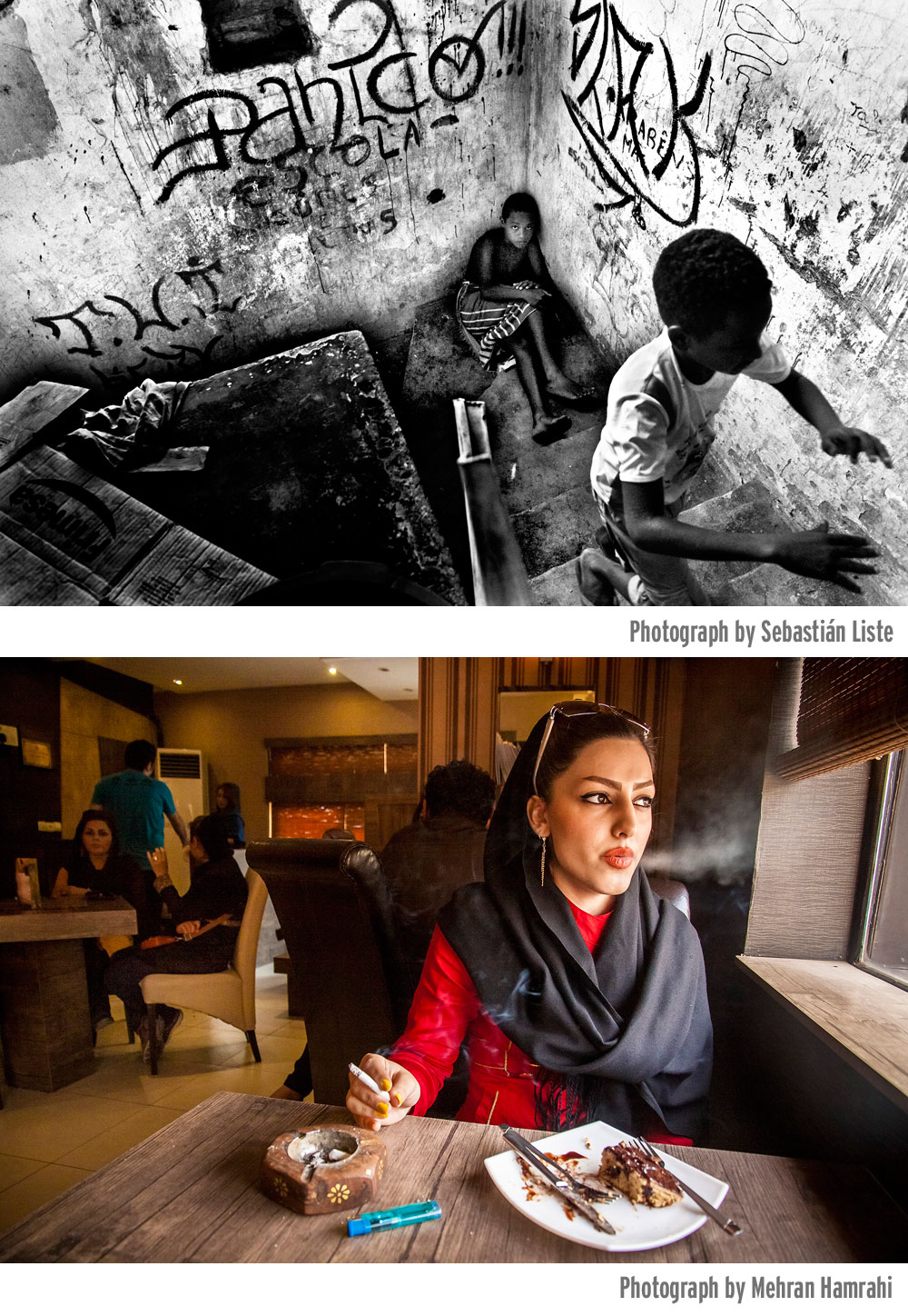 Photographs from the winning Alexia Grant proposals by photojournalists Sebastián Liste (at top) and Mehran Hamrahi.
