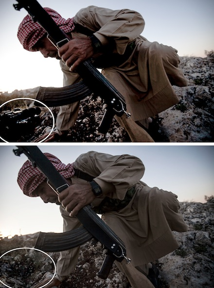 "The Associated Press ended its relationship with Pulitzer Prize-winning freelance photographer Narcisco Contreras after he admittted to digitally removing a colleague's video camera from a photograph of a Syrian rebel. Contreras says he ""cloned"" the background of the image to cover up the lower left corner where the video camera could be seen. Photographs provided by the Associated Press"