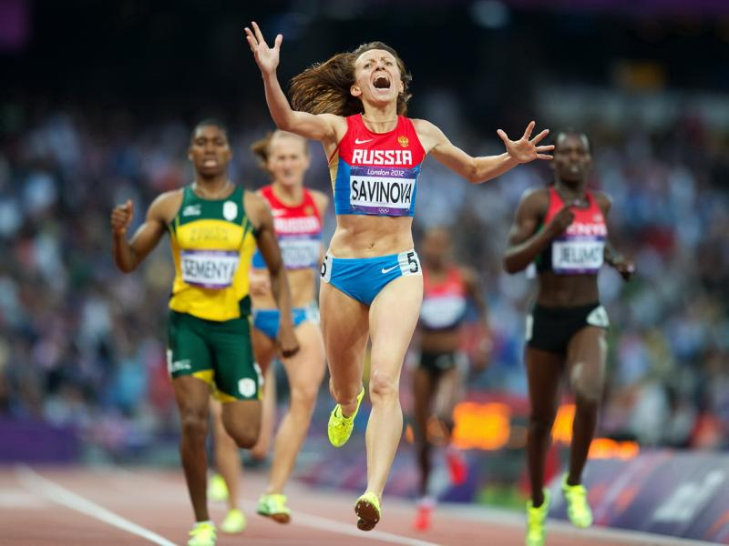 Russia's Mariya Savinova (front) wins the women's 800-meter final at the London 2012 Olympics at the Olympic Stadium in London Photo by Bill Frakes / Sports Illustrated