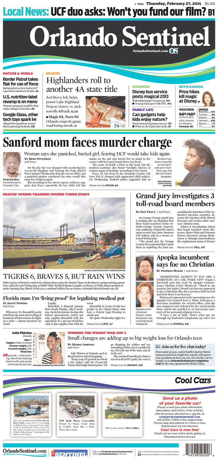 "Today's front page of the Orlando Sentinel, where staff photographers have been told that their old jobs are gone and they were urged to apply for new, redefined ""videocentric"" positions."