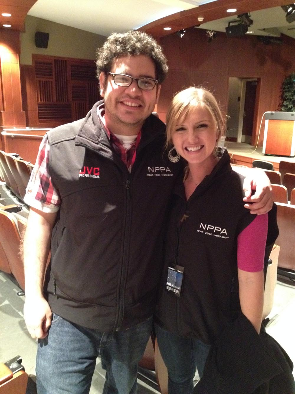 Katie Schoolov and Evelio Contreras at the NPPA News Video Workshop in Norman, OK.