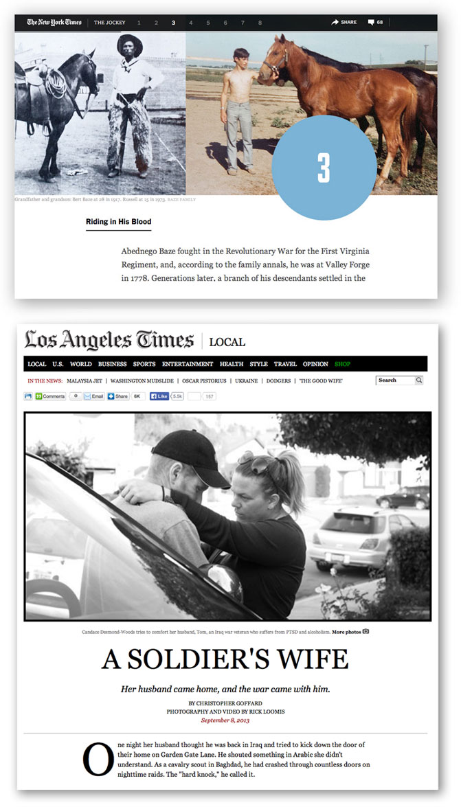 """The Jockey"" by The New York Times (at top) and ""A Soldier's Wife"" by Rick Loomis and the Los Angeles Times were among the top winners in NPPA's Best Of Photojournalism Multimedia contest winners."