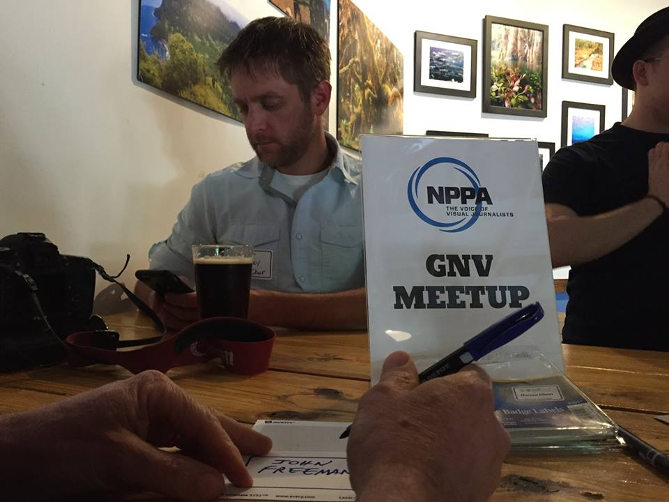 Matt Stamey, the Southeast associate chair, at the NPPA meet-up at First Magnitude Brewing in Gainesville, Fla., April 3, 2016. Local meet-ups are being organized for members across the country. (Photo/Andrew Stanfill)