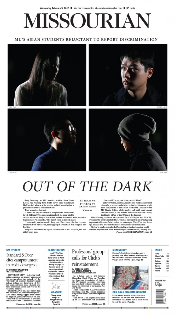 Quaterly Picture Editing Contest 1st Quarter - Print Single Page, First Place - Brian Kratzer, Amber Garrett,Tim Tai / Missourian