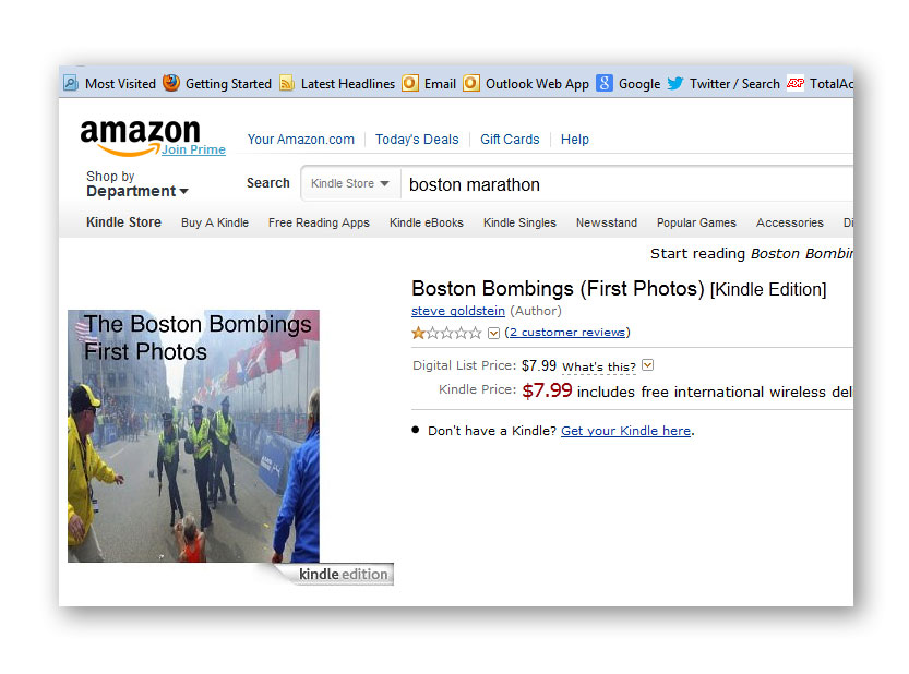 Screen grab of Amazon.com's Web site showing the eBook that used unauthorized or unlicensed news photographs from the Boston Marathon bombing. Soon after, the book was taken down.