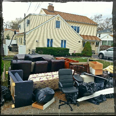 Damaged possessions from Al Bello's house, struck by Sandy
