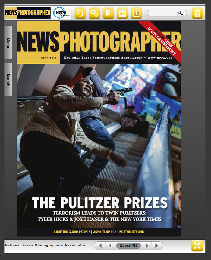 The May 2014 cover of News Photographer magazine's first digital, online issue features the story of New York Times photojournalists Josh Haner and Tyler Hicks, winners of this year's Pulitzer Pirzes in Photography.
