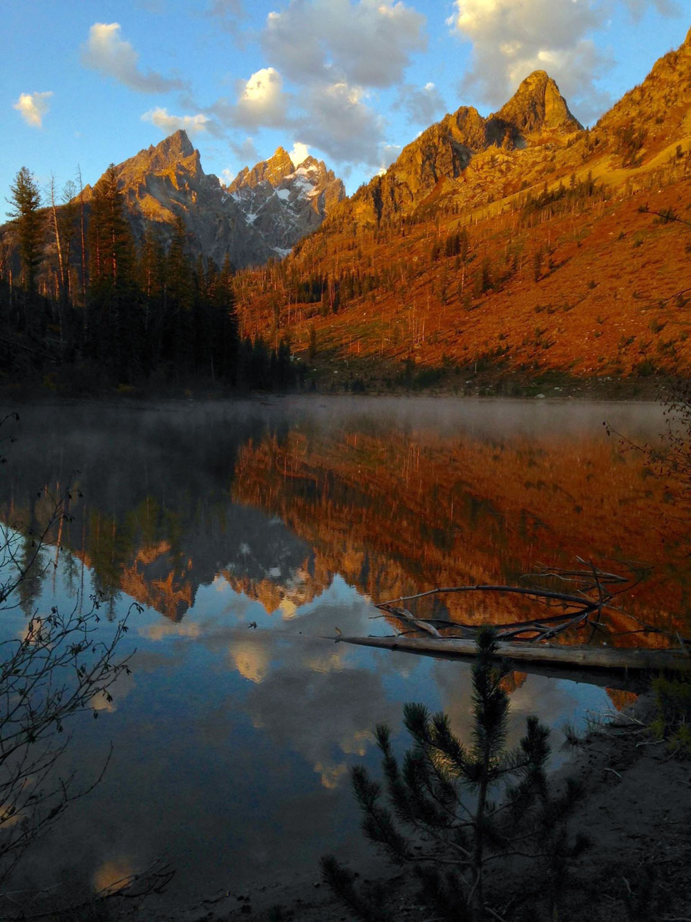 Sunrise on the Grand Tetons along the shores of String Lake, Wyoming. Photograph © 2015 Donald R. Winslow