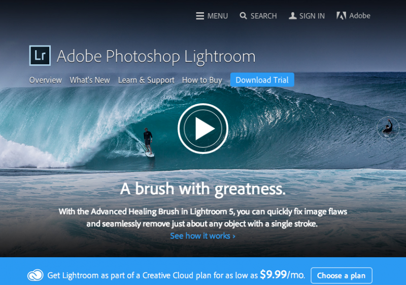 Adobe Photoshop Lightroom Home Page