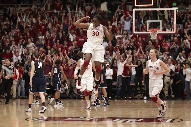 Stanford's Nnemkadi Ogwumike (30) celebrates victory ending University of Connecticut 90 game winning streak in 2010. Photo by Jed Jacobsohn