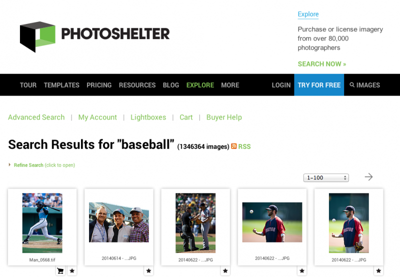 PhotoShelter Search Return Page