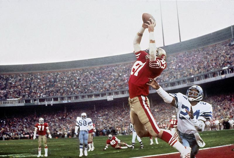 NFC Playoffs, January 10, 1982 -- San Francisco 49ers Dwight Clark (87) makes the game winning touchdown catch vs Dallas Cowboys. Photo by Walter Iooss Jr. / Sports Illustrated