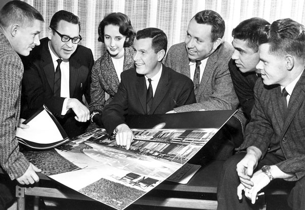 Charles Cooper (third from right side) during a Southern Short Course planning session in 1961.