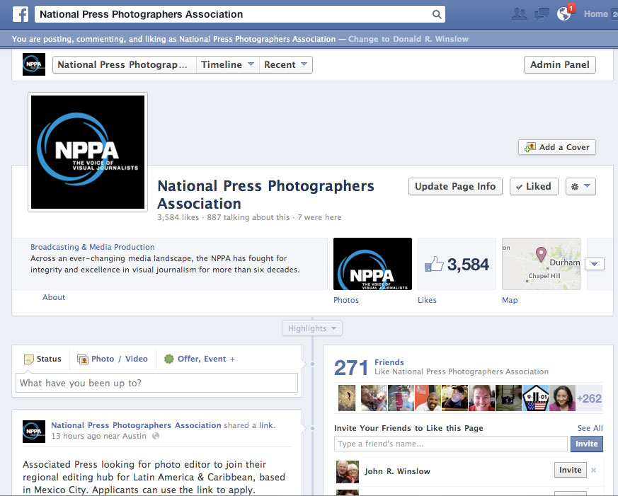 NPPA's official Facebook page is online at https://www.facebook.com/NPPA.Visual.Journalists