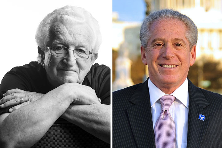 This year's winners of NPPA's top honor, the Joseph A. Sprague Memorial Award, are Ken Hackman (on left) and Mickey H. Osterreicher. Photographs by Stacy Pearsall (left) and Ron Sachs