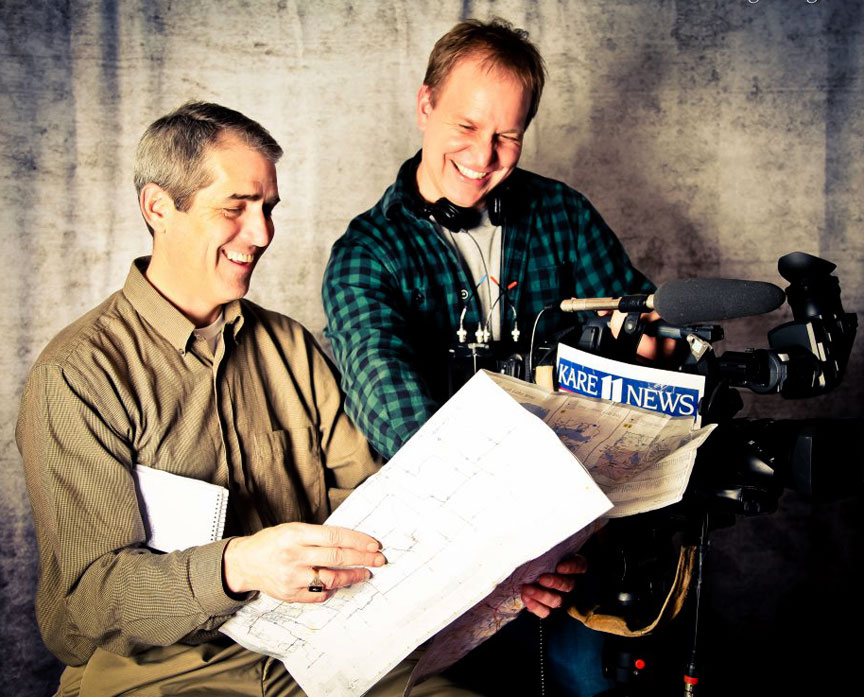 Boyd Huppert (on left) of KARE-TV in Minneapolis is the six-time winner of NPPA's Photojournalism Award for Reporting, and his KARE-TV partner photojournalist Jonathan Malat (at right) is now the three-time winner of the Ernie Crisp Television News Photographer of the Year title. Photograph © by Kelly Bakke