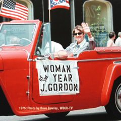 Joan Gordon on Main Street in the Bowling Green, Ohio, Holiday Parade. She was chosen by the Chamber of Commerce as Outstanding Female Citizen in 1975. She received an NPPA Special Citation at the 1997 convention for helping copy edit the NPPA magazine.