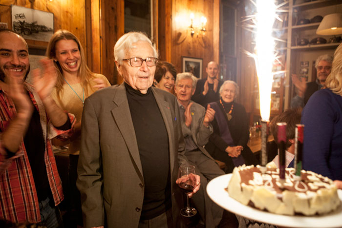 "John G. Morris celebrated his 96th birthday in London at the Frontline Club with a private screening of the new film, ""Get The Picture,"" followed by a party and birthday cake. Photograph © 2012 by Barbara Doux"