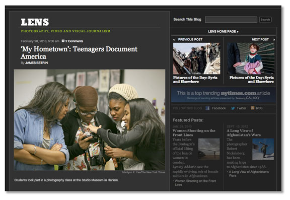 "LENS blog on The New York Times launches ""My Hometown."""