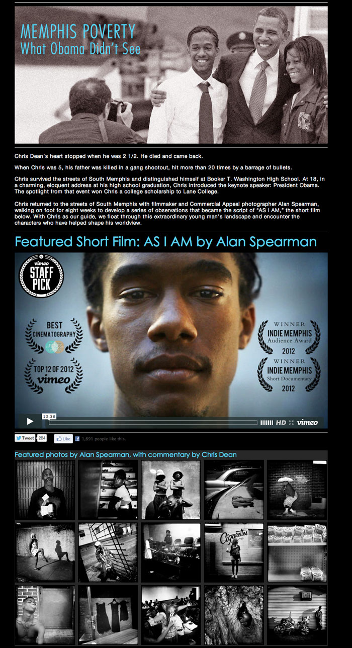 """Memphis Poverty: What Obama Didn't See"" by Alan Spearman and The Commercial Appeal won NPPA's Best Use of Multimedia."