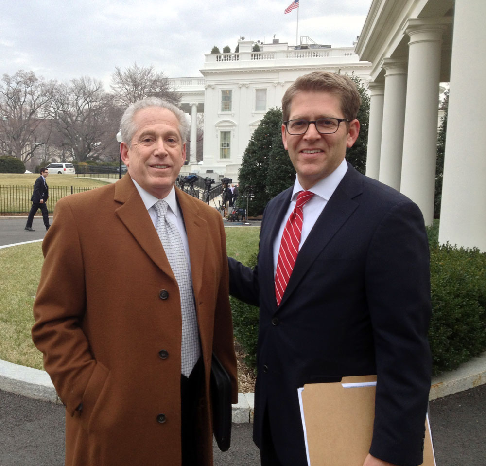 NPPA's general counsel Mickey H. Osterreicher (left) with White House press secretary Jay Carney today outside the West Wing after members of a media coalition met with the Administration over photographic access to President Barack Obama. Photograph by Ron Sachs