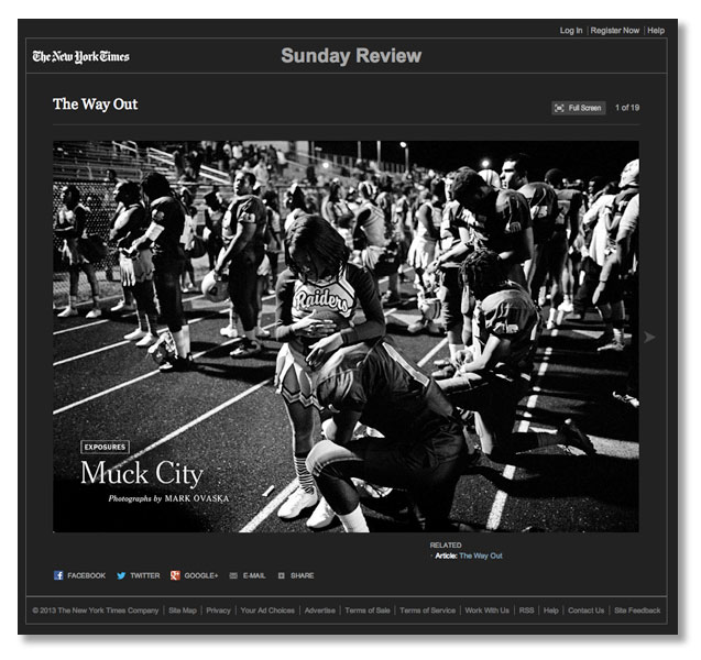 "Photojournalist Mark Ovaska's essay ""Muck City"" has appeared in The New York Times Sunday Review ""Exposures"" section. Ovaska's essay was supported by one of NPPA's Short Grants."