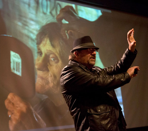 "Washington Post photojournalist Michael Williamson delivered the inaugural Morris Berman Lecture at Ohio University's VisCom, telling students, ""Personalize it. I need a face. Find the one person to tell the story about."" Photographs by Frank S. Folwell"