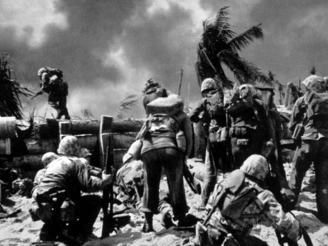 Official U.S. Navy Photo of U.S. Marines Invading Tarawa in 1943