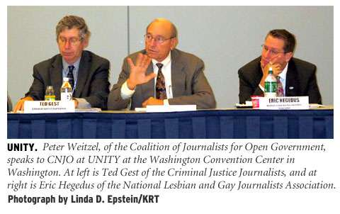[Unity: Peter Weitzel, of the Coalition of Journalists for Open Government, speaks to CNJO at UNITY at the Washington Convention Center in Washington. At left is Ted Gest of the Criminal Justice Journalists, and at right is Eric Hegedus of the National Lesbian and Gay Hournalists Association. Photograph by Linda D. Epstein/KRT]