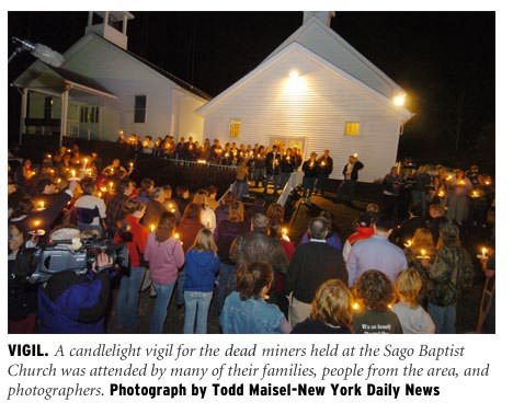 Candlelight Vigil At Sago Baptist Church For Dead Miners
