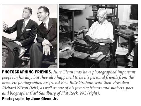 June Glenn Jr.'s photographs of Rev. Billy Graham with President Richard Nixon, and Carl Sandburg.
