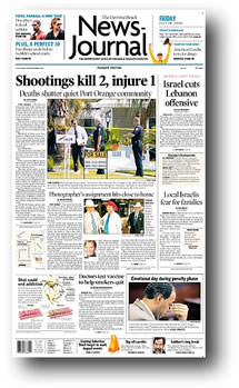 Daytona Beach News-Journal front page, crime scene