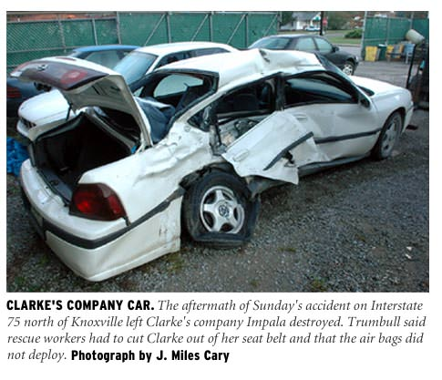 Cathy Clarke's company car was destroyed in Sunday's crash on Interstate 75
