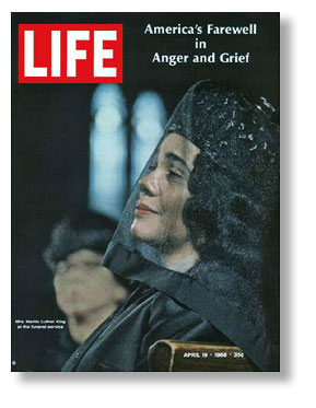 LIFE magazine cover by Flip Schulke of Coretta Scott King at MLK's funeral
