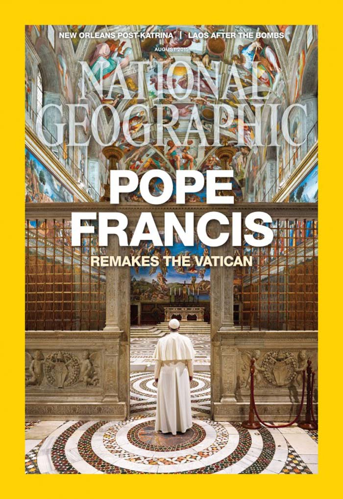 The cover of National Geographic's August issue with the story on Pope Francis photographed by David Yoder