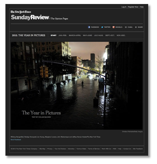 New York Times gallery selects the Year In Pictures for 2012.