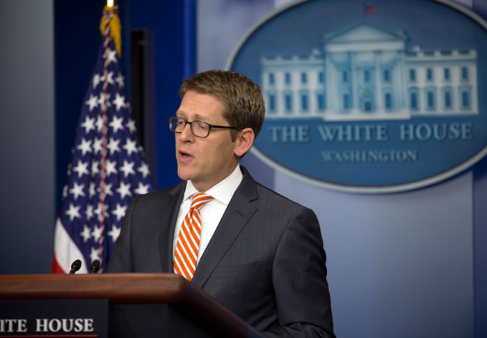 As the White House press corps gave press secretary Jay Carney a good grilling today over restricted photo access to President Barack Obama, taking up most of today's daily briefing on the topic, Carney suggested that media photographers may be concerned about competition from official White House photographer Pete Souza.