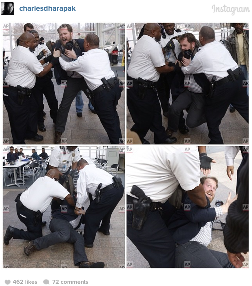 Smithsonian security guards wrestled Kristoffer Tripplaar to the ground. Instagram photograph by AP's Charles Dharapak