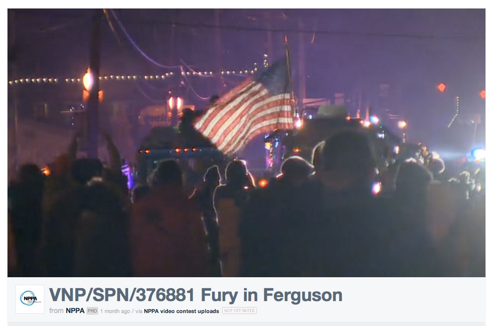 """Fury In Ferguson"" won First Place in Spot News for Jeff Christian of KING5-TV in the NPPA's 2015 Best Of Photojournalism Television Photography contest."