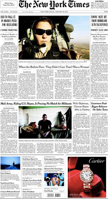 Photojournalist Stacy Pearsall's story, atop the front page of today's New York Times