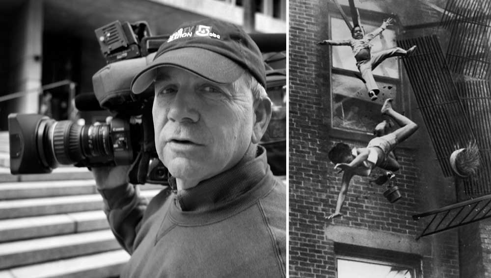 "Boston photojournalist Stanley Forman (left) and his ""Fire on Marlborough Street"" photographs that won the 1976 Pulitzer Prize for Spot News Photography."